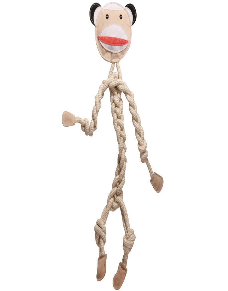 HuggleHounds Knottie Rope Sock Monkey Dog Toy