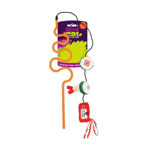 R2P Pet Mad Cat Sushi Swatter Wand Cat Toy