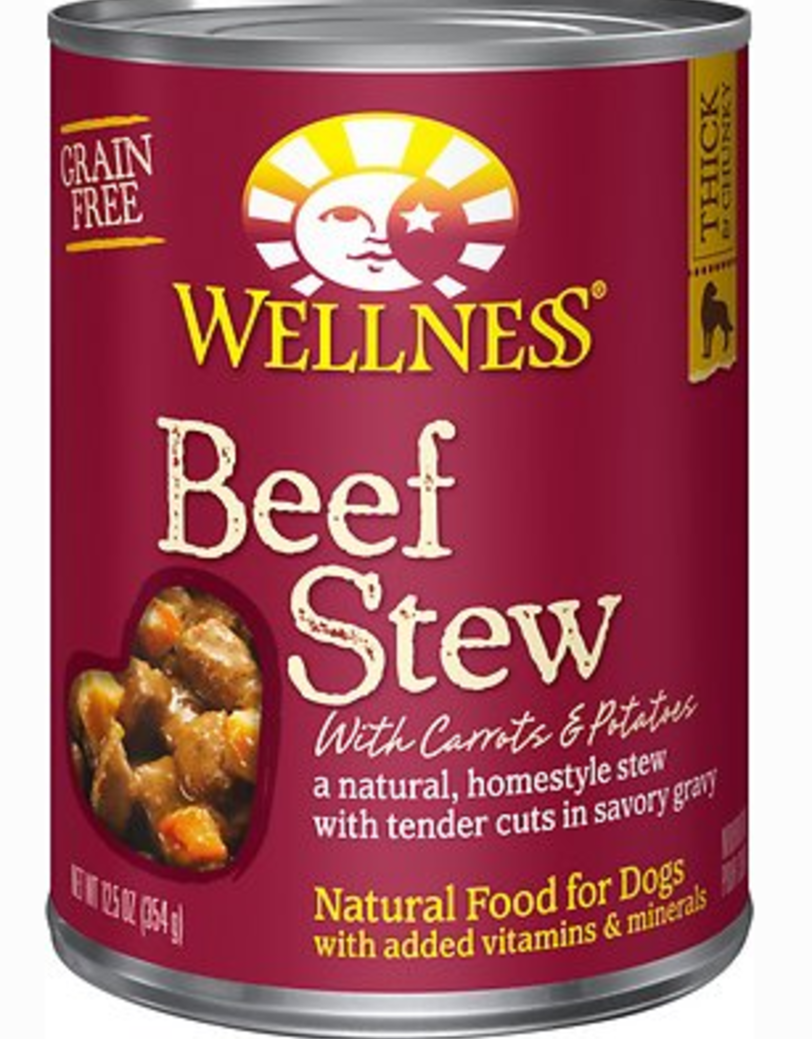 Wellness Beef Stew with Carrots & Potatoes Canned Dog Food, 12.5 oz.