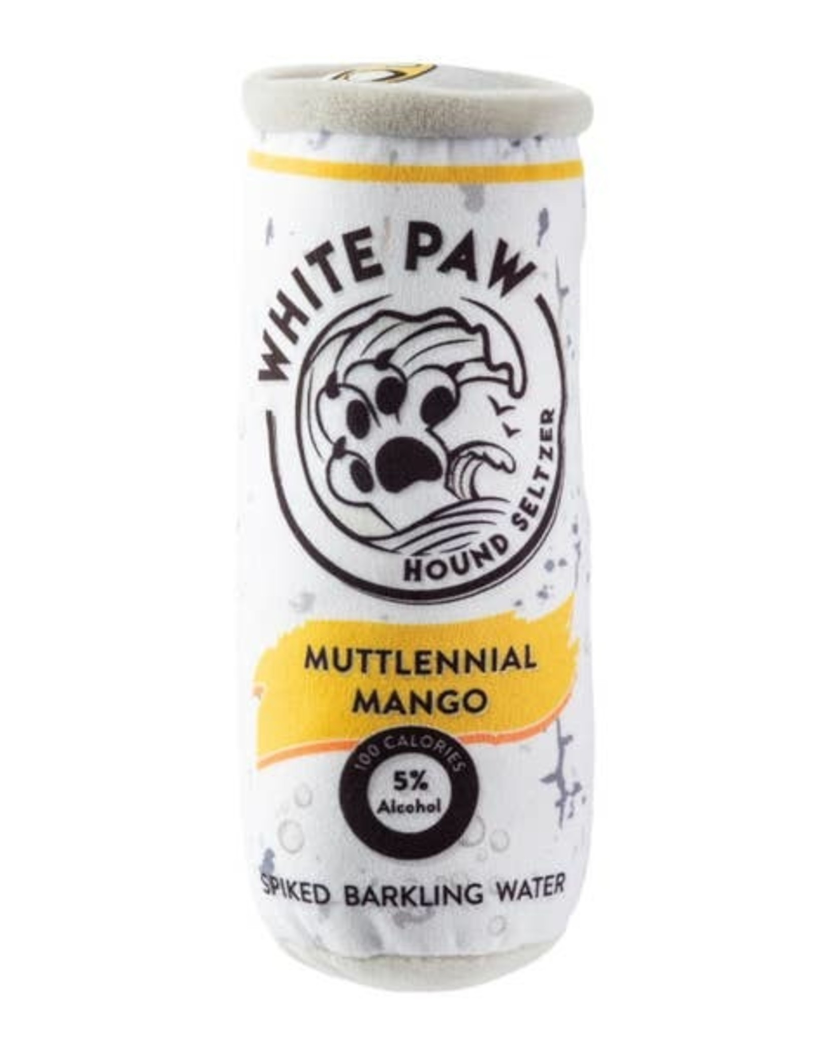 Haute Diggity Dog Muttlennial Mango White Paw Hound Seltzer Dog Toy
