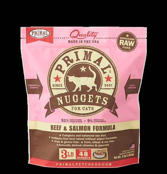 Primal Raw Frozen Feline Beef & Salmon Formula, 3 lb. nuggets