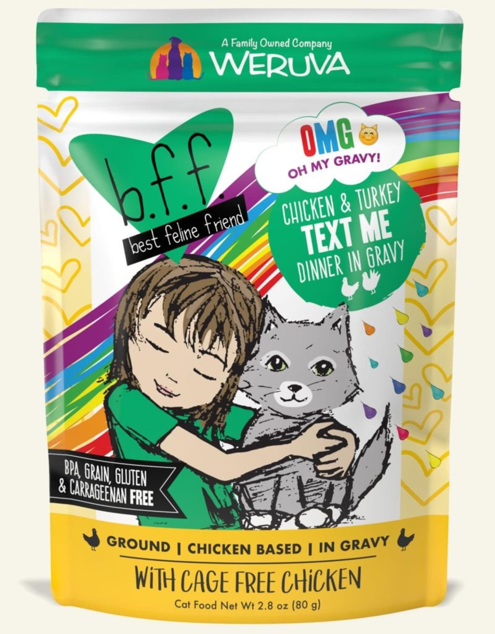 Weruva BFF OMG Chicken & Turkey Text Me Cat Food Pouch, 2.8 oz