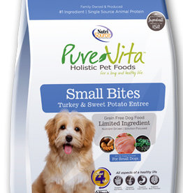 Pure Vita Small Bites Turkey & Sweet Potato Formula Grain Free Dog Food 5 lb.
