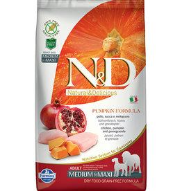 Farmina N&D Grain-Free Pumpkin, Chicken & Pomegranate Recipe Adult Medium & Maxi Dry Dog Food, 5.5 lb