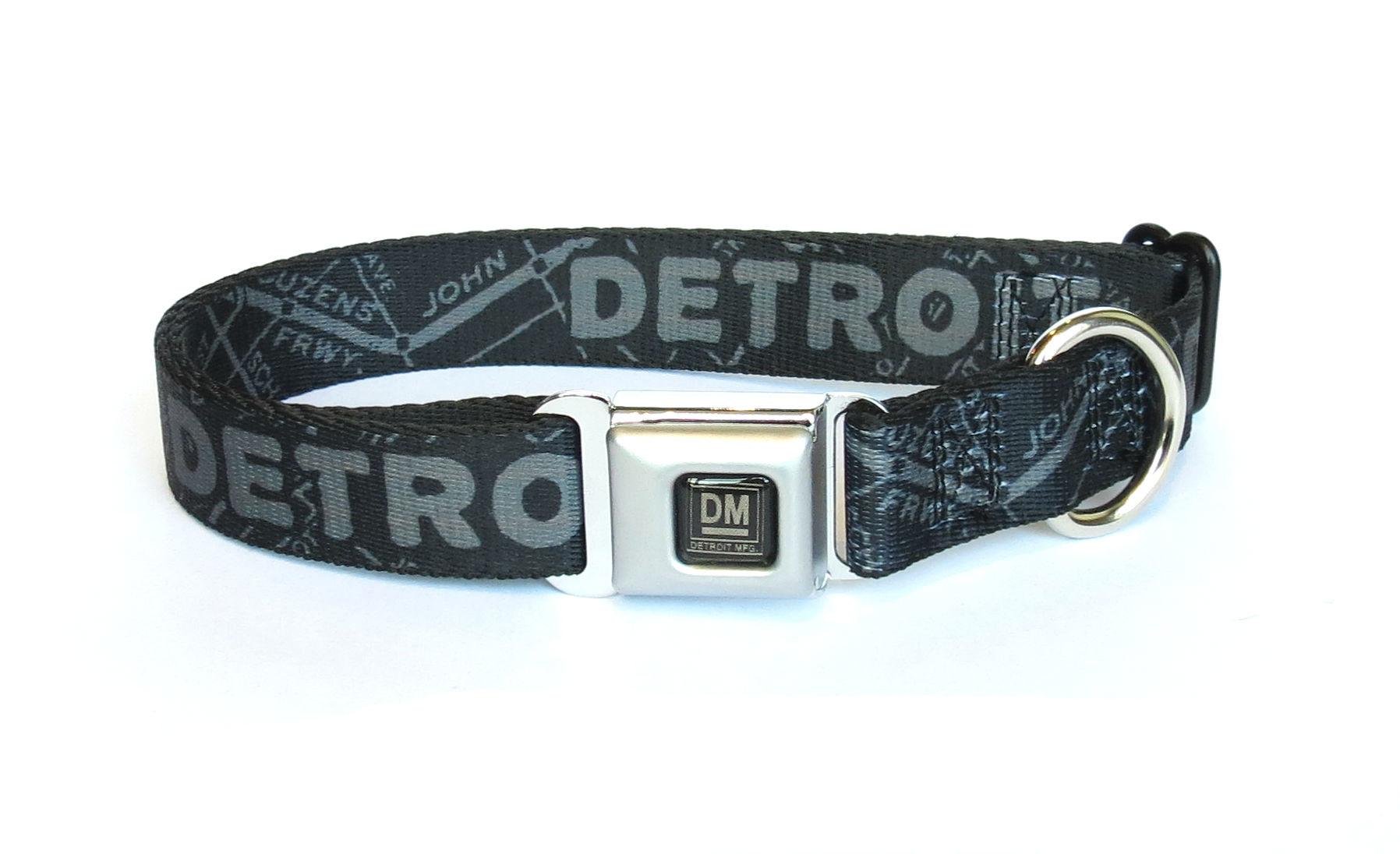 The Detroit Mercantile Co Black & Gunmetal Detroit Seatbelt Dog Collar