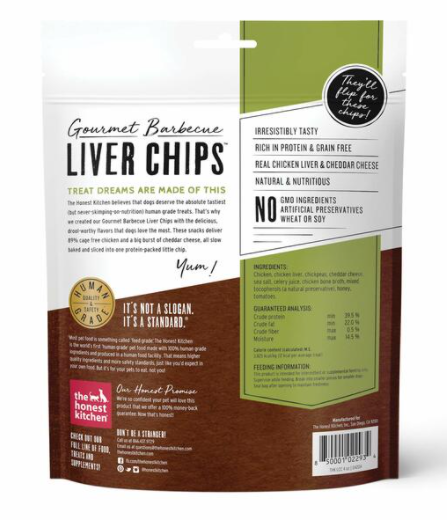 The Honest Kitchen Gourmet Barbecue Liver Chips - Chicken Liver and Cheddar Recipe, 4 oz