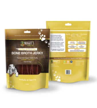 Nugget's Healthy Eats Jammin' Jowlers Chicken Bone Broth Jerky Dog Treats, 10 oz.