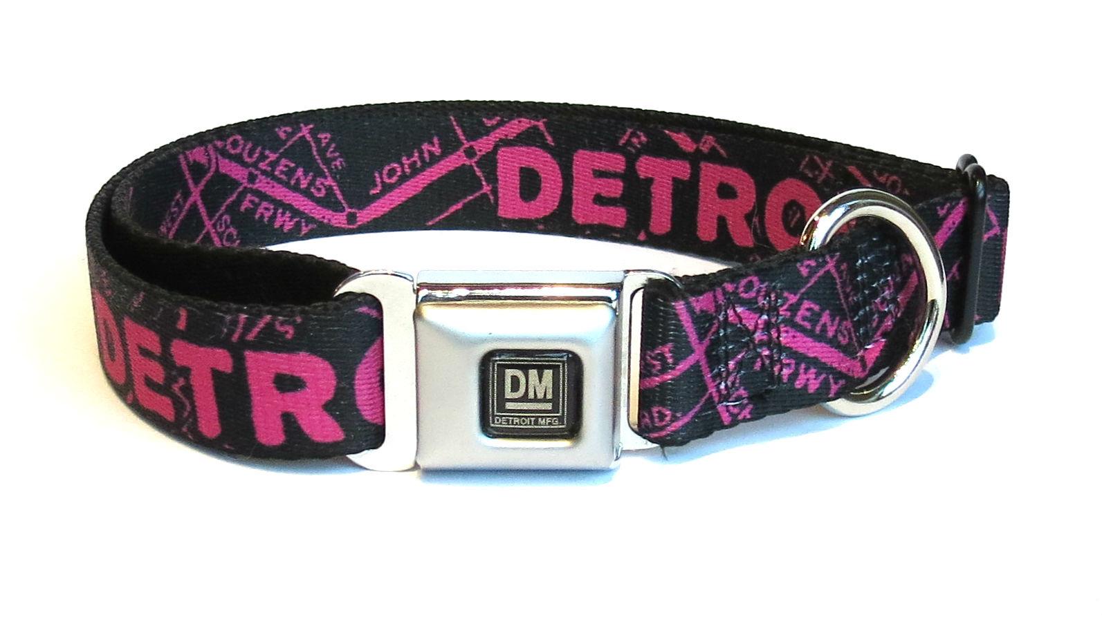 The Detroit Mercantile Co Black & Hot Pink Detroit Seatbelt Dog Collar
