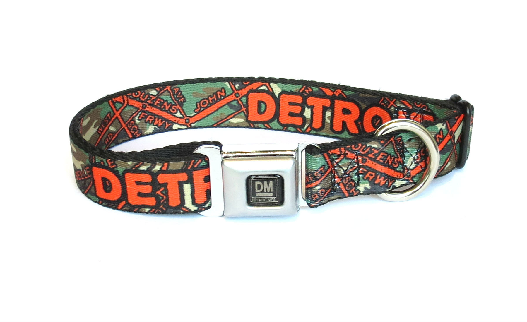 The Detroit Mercantile Co Camo Detroit Seatbelt Dog Collar