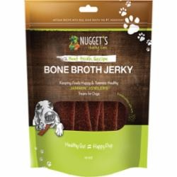 Nugget's Healthy Eats Jammin' Jowlers Beef Bone Broth Jerky Dog Treats, 10 oz.