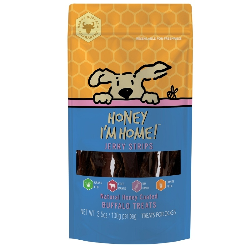 Honey I'm Home Honey Coated Buffalo Jerky Strips Dog Treat, 3.5 oz.