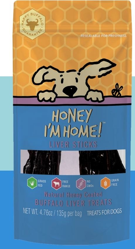 Honey I'm Home Honey Coated Buffalo Liver Strips Dog Treat, 4.76 oz.