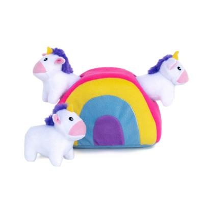 Zippy Paws Unicorns in Rainbow Burrow Dog Toy