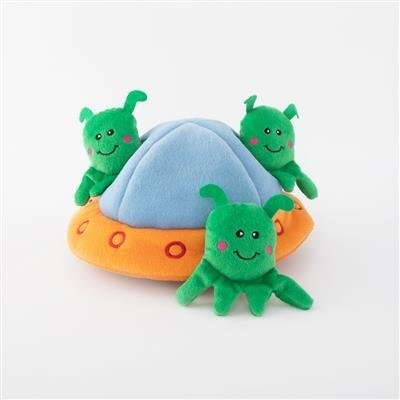 Zippy Paws Aliens in UFO Burrow Interactive Dog Toy