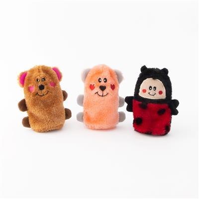Zippy Paws Valentine Squeakie Buddies Pack-3 Plush Dog Toy