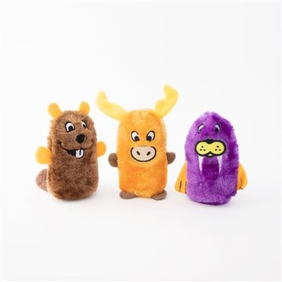 Zippy Paws Beaver, Moose, Walrus Squeakie Buddies 3-pack Plush Dog Toy