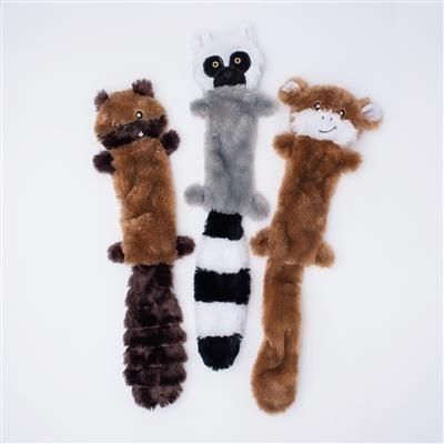 Zippy Paws Chipmunk, Lemur, Monkey Skinny Peltz 3-Pack Plush Dog Toy