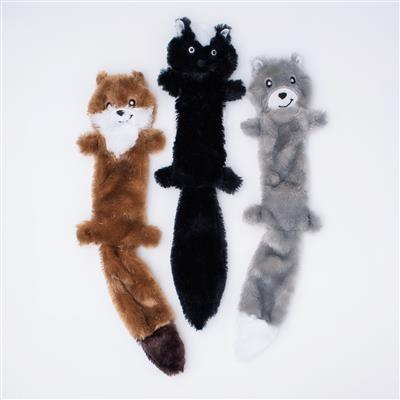 Zippy Paws Weasel, Skunk, Wolf Skinny Peltz 3-Pack Plush Dog Toy