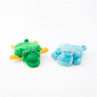 Zippy Paws Hippo & Alligator Squeakie Pad 2-Pack Plush Dog Toy