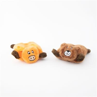 Zippy Paws Bear & Moose Squeakie Pad 2-Pack Plush Dog Toy