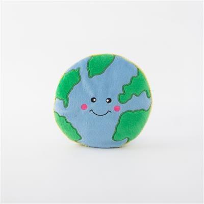 Zippy Paws Squeakie Pattiez Earth Plush Dog Toy