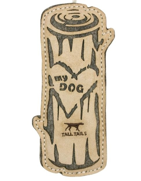 Tall Tails Leather & Wool Love My Dog Log Toy, 9 in