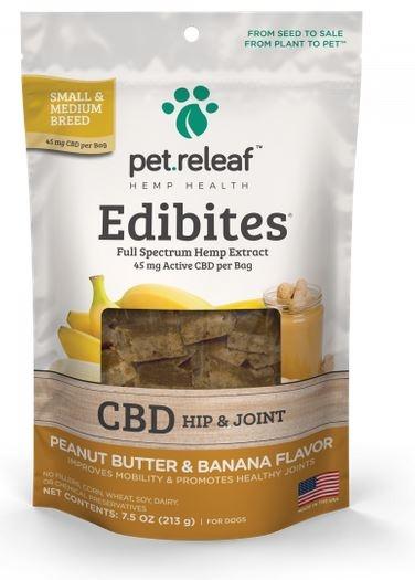 Pet Releaf Peanut Butter & Banana Hip & Joint Edibites, 30 pieces