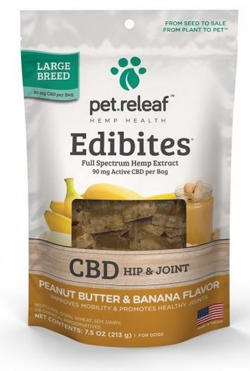 Pet Releaf Peanut Butter & Banana Hip & Joint Edibites Large Breed, 30 pieces
