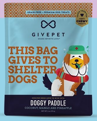 Give Pet Doggy Paddle, Coconut, Mango, & Pineapple, Soft & Chewy, Grain-Free Dog Treats, 6 oz