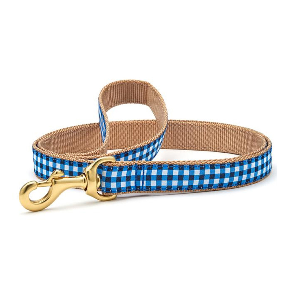 Up Country Navy Gingham Leash 6'