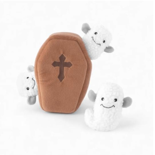 Zippy Paws Burrow Coffin with Ghosts Interactive Dog Toy