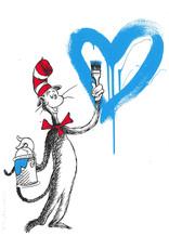 Brainwash The Cat and the Heart (Blue) by Mr. Brainwash