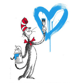 Brainwash The Cat and the Heart (Blue) by Mr. Brainwash