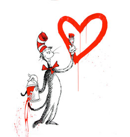 Brainwash The Cat and the Heart (Red Large) by Mr. Brainwash