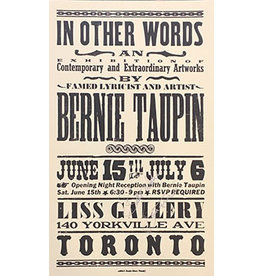 Taupin In Other Words, 2013 Exhibition Poster for Bernie Taupin (Signed)