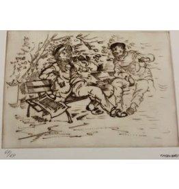 Chauski Two Men On Bench by Chauski