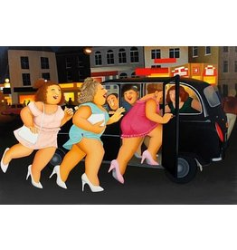 Cook Girls in a Taxi by Beryl Cook