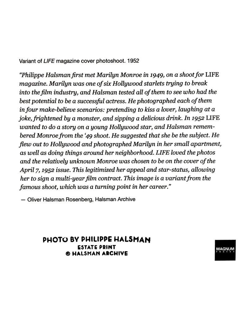 Magnum Marilyn Monroe, Variant of LIFE Magazine Photo Shoot, 1952 by Philippe Oliver Halsman Rosenberg