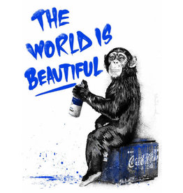 Brainwash The World Is Beautiful (Blue) by Mr. Brainwash
