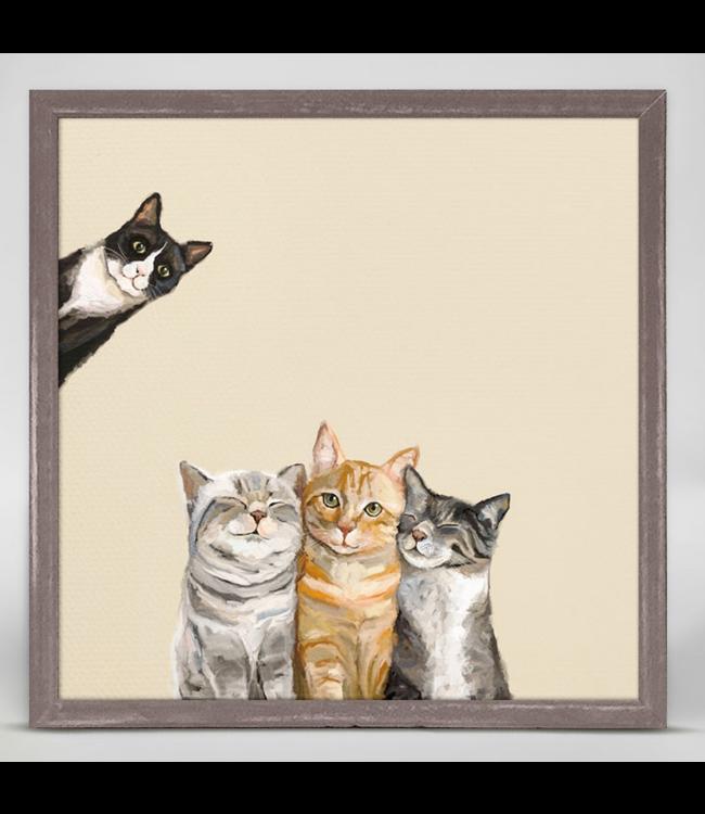 Feline Friends Three Cats Plus One Mini Framed Canvas 6x6