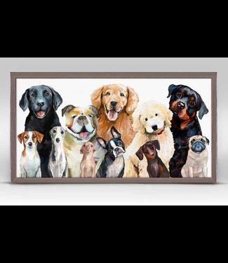 Best Friend Dog Bunch Mini Framed Canvas 10x5