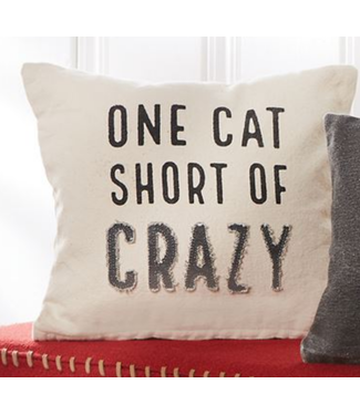 Mud Pie CRAZY CAT WASHED CANVAS PILLOW