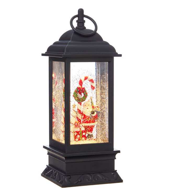 "11"" Santa and Candy Cane Lighted Water Lantern"