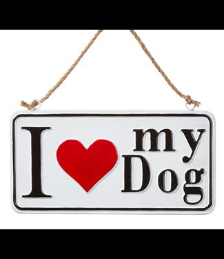 "13.75"" I Love My Dog Sign Ornament"