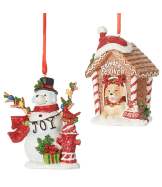 """4"""" Dog House and Snow Dog Ornament"""