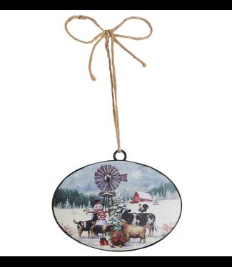 """6"""" Snowman on the Farm Disc Ornament"""