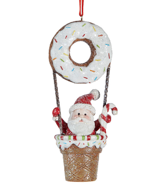 "4.75"" Santa Donut Hot Air Balloon Ornament"