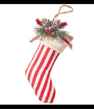 "6.5"" Ticking Stripe Stocking Ornament"