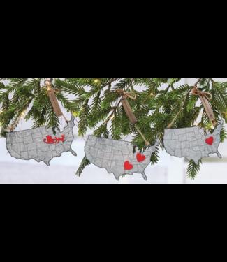 Mud Pie USA Map Tin Ornament