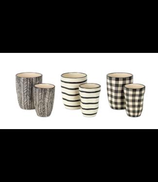 """Black and White Pots 2.75""""D x 4.25""""H, 3.75""""D x 5""""H Dolomite"""